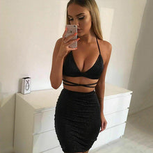 Load image into Gallery viewer, Hot sale solid halter v-neck Women's Sexy Bandage Bodycon  Evening Party fashion Club Wear Short Mini Dress female  vestido
