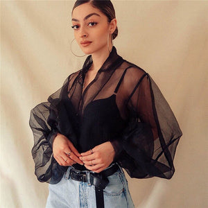 New Fashion Women's Summer Loose Top Long Sleeve Tee Ladies Casual Mesh Lantern Sleeve Tops Sexy Solid Black White Shirt