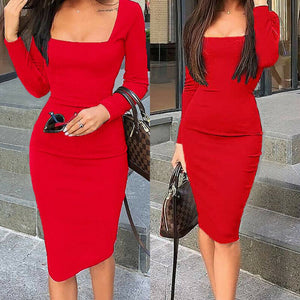 Sexy Women Long Sleeve Dresses Bodycon Ladies Knee Length Dresses Casual Dress Party Dress Women Hot Sale