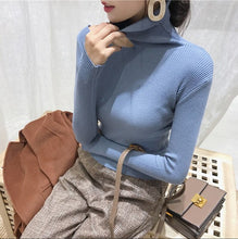 Load image into Gallery viewer, Autumn Winter Women Pullovers Sweater Knitted Elasticity Hollow Out Turtleneck Female Sweaters JJ3231