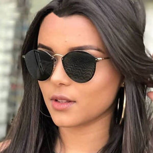 Women Classic Brand Designer Cat Eye Sunglasses Rimless Metal Frame Sun Glasses S'58051