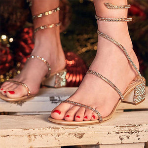 Summer Crystal Gladiator Sandals Women Open Toe Square Heels Sandals Women Fashion Party Dress Snake Strap Shoes