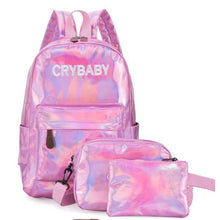 Load image into Gallery viewer, Holographic Laser Backpack Embroidered Crybaby Letters Hologram Backpack set School Bag +shoulder bags +penbags 3pcs/set
