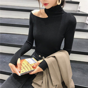 Autumn Winter Women Pullovers Sweater Knitted Elasticity Hollow Out Turtleneck Female Sweaters JJ3231