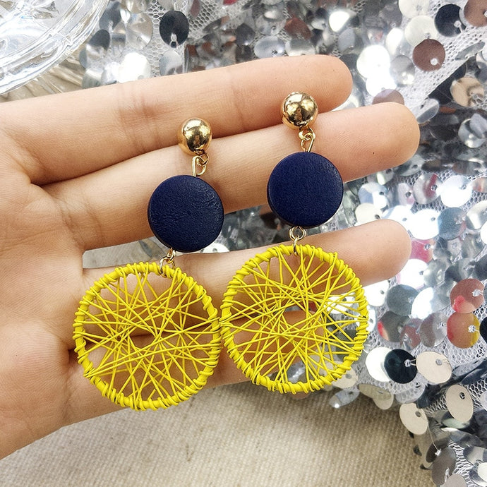 Luxury Simple Big Round Earrings Women Fashion Korean Style Hollow Mesh Drop Earrings Statement Jewelry