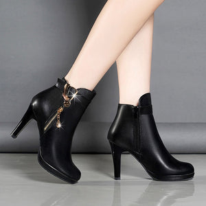Boots Women Ankle Boots For Women Thin Heel Zipper Casual Female Shoes Leather Boots