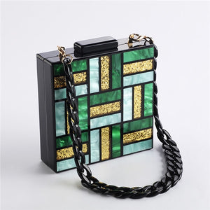 Acrylic Handbags Women Evening Bag Clutch Cute Green Gold Luxury Square Party Prom Wedding Bags Casual Vintag