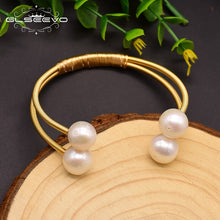 Load image into Gallery viewer, Original Natural Fresh Water Pearl Double Layer Bangle For Women Wedding Bracelet Luxury Jewelry Brazalete Mujer GB0150