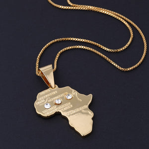 Classic Gold Color Africa Map Pendant Necklace Male Vintage Copper Jewelry Rhinestone Hip Hop Long Chain Necklace For Men