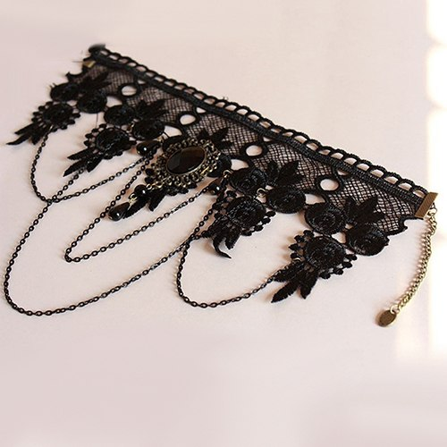 Women Vintage Gothic Black Rhinestone Lace Layered Chain Collar Necklace Choker