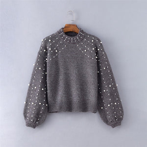 Women Sweater  Pearl Pullover Female Sweater Oversize Autumn Winter Long Sleeve Sweaters O Neck Pull Femme