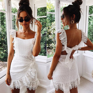 Summer Dress Women Boho Bohemian Hollow Out Crochet Lace Embroidery White Dress Backless Tie Ruffle Mini Beach Dresses