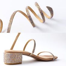 Load image into Gallery viewer, Summer Crystal Gladiator Sandals Women Open Toe Square Heels Sandals Women Fashion Party Dress Snake Strap Shoes