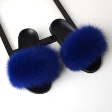 Load image into Gallery viewer, Women Flat Non-slip Solid Fox Fur Slides Real Fox hair Slides Large Size Slippers