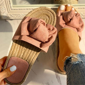 Summer Beach Bow Summer Sandals Slipper Indoor Outdoor Linen Flip flops Shoes Female Fashion Floral Shoes