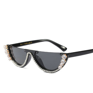 Cat Eye Sunglasses Women Luxury Brand glasses Metal jewel with Rhinestone Decoration Cat Eyes Sun glasses Vintage Shades