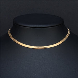 Simple Luxury Snake Choker Necklace Women Fashion Jewelry Gold Silver Chocker Flat Necklaces