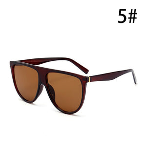 Thin Flat Top Sunglasses Women Luxury Retro Vintage  Sunglasses Clear Glass