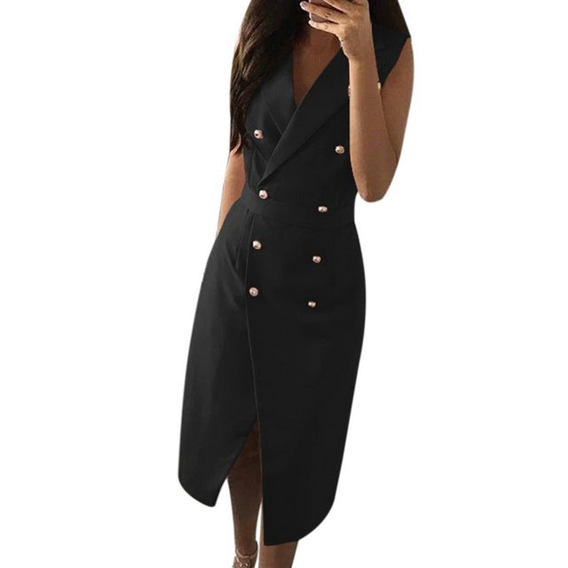 Women Summer Bodycon Double Breasted Dress Sexy V-Neck Sleeveless Work Office Blazer Dress Black Party Vestidos Plus Size