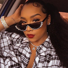Load image into Gallery viewer, Cat Eye Sunglasses Women Luxury Brand glasses Metal jewel with Rhinestone Decoration Cat Eyes Sun glasses Vintage Shades