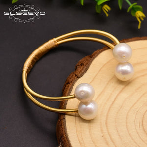 Original Natural Fresh Water Pearl Double Layer Bangle For Women Wedding Bracelet Luxury Jewelry Brazalete Mujer GB0150