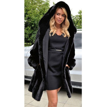 Load image into Gallery viewer, Autumn and winter imitation fur coat hoodies long section Slim imitation fur coat