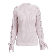 Load image into Gallery viewer, Lace up knitted sweater women jumper O neck casual autumn winter sweater  Short pullover sweaters ladies pull femme