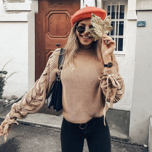 Lace up knitted sweater women jumper O neck casual autumn winter sweater  Short pullover sweaters ladies pull femme