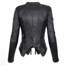 Load image into Gallery viewer, PU leather gothic biker chick black jacket.
