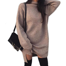 Load image into Gallery viewer, Autumn-Winter Warm Long Sleeve Women Knitted Sweater Dress White Turtleneck Sweaters Pullover Jumper Female Clothes