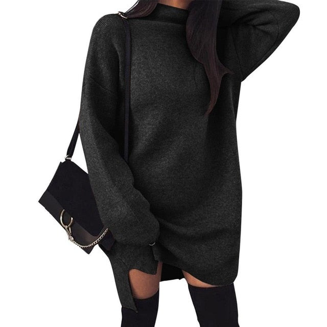Autumn-Winter Warm Long Sleeve Women Knitted Sweater Dress White Turtleneck Sweaters Pullover Jumper Female Clothes