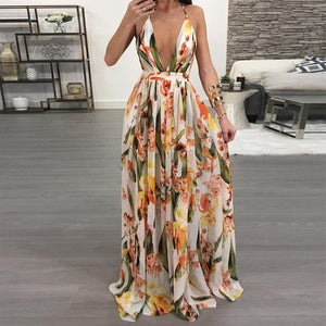 Women Dresses Summer Sexy Maxi Boho Style Print Party Dress Deep V Neck Backless Long Dress