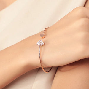 Adjustable Crystal Double Heart Bow Bilezik Cuff Opening Bracelet For Women Jewelry Gift Mujer Pulseras