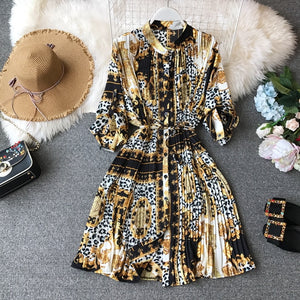 Spring Ladies Urban Chiffon Loose Printed Pleated Dress Women Fashion Festival Three Quarter Lantern Sleeves Knee-length Dress
