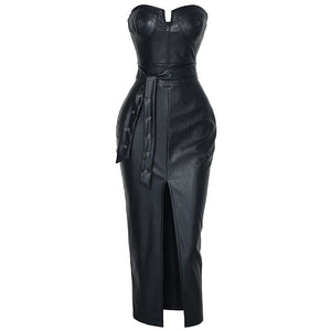 Backless pu leather dress Women high split black tight party dress Sexy night club wear low cut bodycon dresses belted vestidos