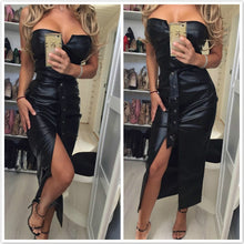 Load image into Gallery viewer, Backless pu leather dress Women high split black tight party dress Sexy night club wear low cut bodycon dresses belted vestidos