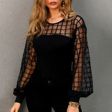 Load image into Gallery viewer, Black Women's Blouses Summer Solid Color Stripe Long Sleeve O Neck Hollow Casual Feminine Blouse Tops