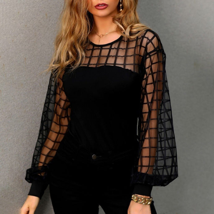 Black Women's Blouses Summer Solid Color Stripe Long Sleeve O Neck Hollow Casual Feminine Blouse Tops