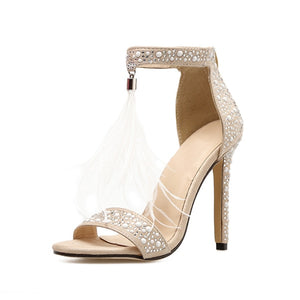 Luxury Rhinestone High Heel Sandals Women Sexy Tassel Wedding Shoes Women Elegant Party Sandals Shoes