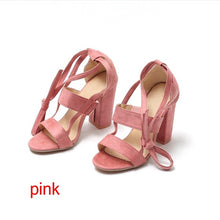 Load image into Gallery viewer, Cross Strap High Heel Thick Heel Plus Size women Shoes Sandals