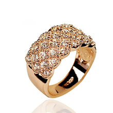 Load image into Gallery viewer, Unique style Crystal Gold and Silver plated Wide and Wild Shiny Party Wedding Ring For women