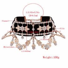 Load image into Gallery viewer, Crystal Rhinestone Choker Necklace Velvet Statement Necklace