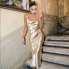Load image into Gallery viewer, Gold Open Back Sarafan Long Dress Female Party Strap Backless Skinny Satin robe