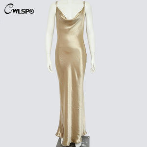 Gold Open Back Sarafan Long Dress Female Party Strap Backless Skinny Satin robe