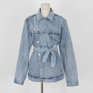 Chic Asymmetrical Denim Women Coats Lapel Collar Long Sleeve Lace Up Female Jean Coat  Autumn Oversize Fashion Casual Jacket