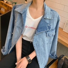 Load image into Gallery viewer, Chic Asymmetrical Denim Women Coats Lapel Collar Long Sleeve Lace Up Female Jean Coat  Autumn Oversize Fashion Casual Jacket