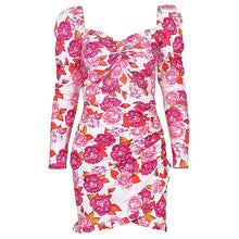Load image into Gallery viewer, Elegant Women Floral Dresses Backless Long Sleeve Anomalistic Hem Fall Wrap Dresses Vintage Pink Dresses Lady