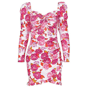 Elegant Women Floral Dresses Backless Long Sleeve Anomalistic Hem Fall Wrap Dresses Vintage Pink Dresses Lady