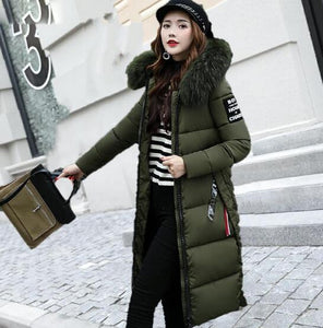 New Winter Jacket Women Large Fur Collar Padded Cotton Warm Jacket Winter Coat Women Parka Casacos de inverno feminino