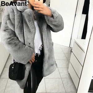Elegant long faux fur coat Women Autumn winter warm soft pink fur coat Female casual luxury plush coat outwear